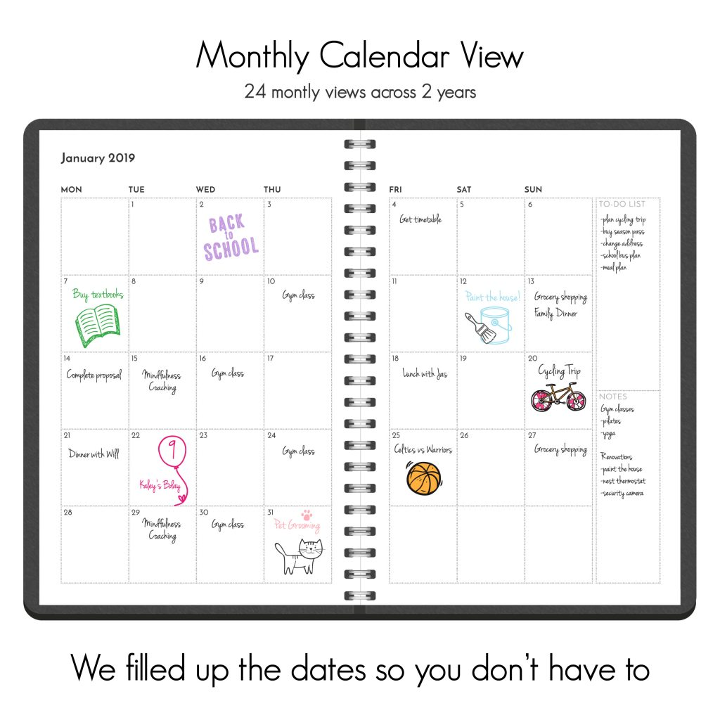 Monthly calendar planner to do list and notes 2019 2020 dated