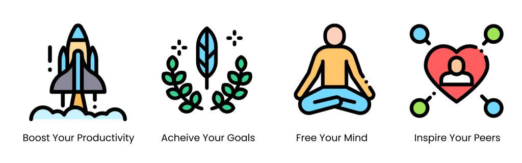 productivity, set goals, mindfulness and inspire others